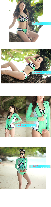CB15123 1 CB15123 บิกินี่เซ็ต สีเขียวเสื้อคลุมเก๋ๆ
